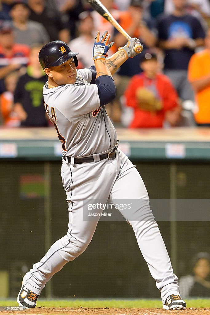 <a gi-track='captionPersonalityLinkClicked' href=/galleries/search?phrase=Miguel+Cabrera&family=editorial&specificpeople=202141 ng-click='$event.stopPropagation()'>Miguel Cabrera</a> #24 of the Detroit Tigers hits a single during the ninth inning against the Cleveland Indians at Progressive Field on September 2, 2014 in Cleveland, Ohio.