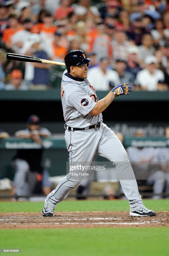 Miguel Cabrera #24 of the Detroit Tigers hits a single in the eighth inning against the Baltimore Orioles at Oriole Park at Camden Yards on August 5, 2017 in Baltimore, Maryland.
