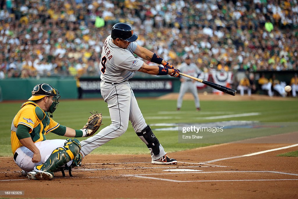 Miguel Cabrera #24 of the Detroit Tigers hits a single in the first inning against Sonny Gray #54 of the Oakland Athletics during Game Two of the American League Division Series at O.co Coliseum on October 5, 2013 in Oakland, California.