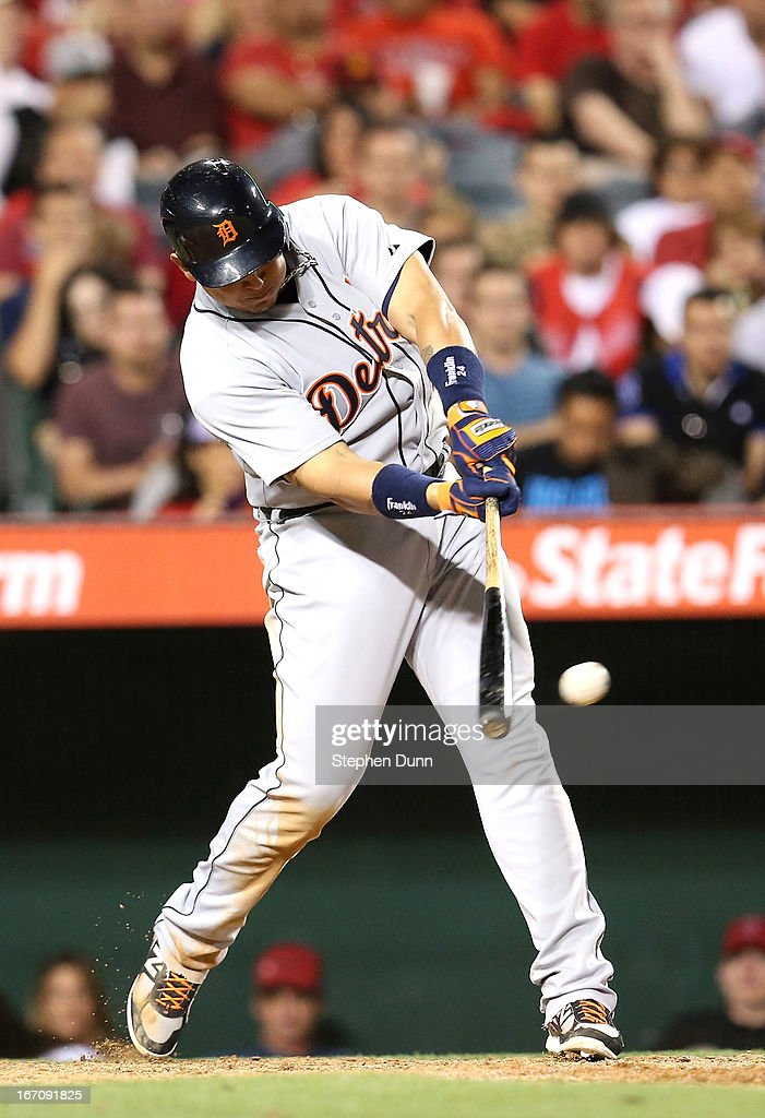 <a gi-track='captionPersonalityLinkClicked' href=/galleries/search?phrase=Miguel+Cabrera&family=editorial&specificpeople=202141 ng-click='$event.stopPropagation()'>Miguel Cabrera</a> #24 of the Detroit Tigers hits a single in the seventh inning against the Los Angeles Angels of Anaheim at Angel Stadium of Anaheim on April 19, 2013 in Anaheim, California.