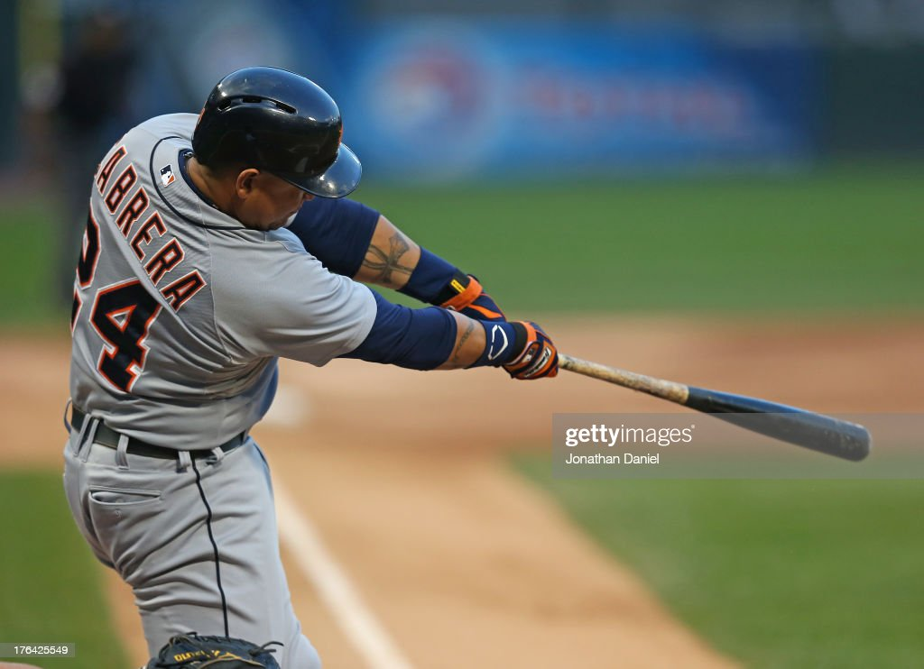 <a gi-track='captionPersonalityLinkClicked' href=/galleries/search?phrase=Miguel+Cabrera&family=editorial&specificpeople=202141 ng-click='$event.stopPropagation()'>Miguel Cabrera</a> #24 of the Detroit Tigers hits a solo home run in the 1st inning against the Chicago White Sox at U.S. Cellular Field on August 12, 2013 in Chicago, Illinois.