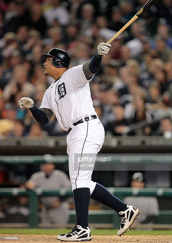 <a gi-track='captionPersonalityLinkClicked' href=/galleries/search?phrase=Miguel+Cabrera&family=editorial&specificpeople=202141 ng-click='$event.stopPropagation()'>Miguel Cabrera</a> #24 of the Detroit Tigers hits a solo home run to center field in the eighth inning during the game against the New York Yankees at Comerica Park on June 2, 2012 in Detroit, Michigan. The Tigers defeated the Yankees 4-3.