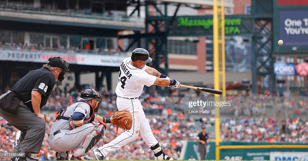 Miguel Cabrera 24 Of The Detroit Tigers Hits A Solo Home Run To Centerfield In