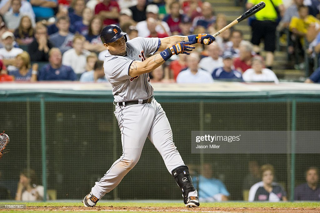 <a gi-track='captionPersonalityLinkClicked' href=/galleries/search?phrase=Miguel+Cabrera&family=editorial&specificpeople=202141 ng-click='$event.stopPropagation()'>Miguel Cabrera</a> #24 of the Detroit Tigers hits a two RBI single during the fifth inning against the Cleveland Indians at Progressive Field on August 8, 2013 in Cleveland, Ohio.