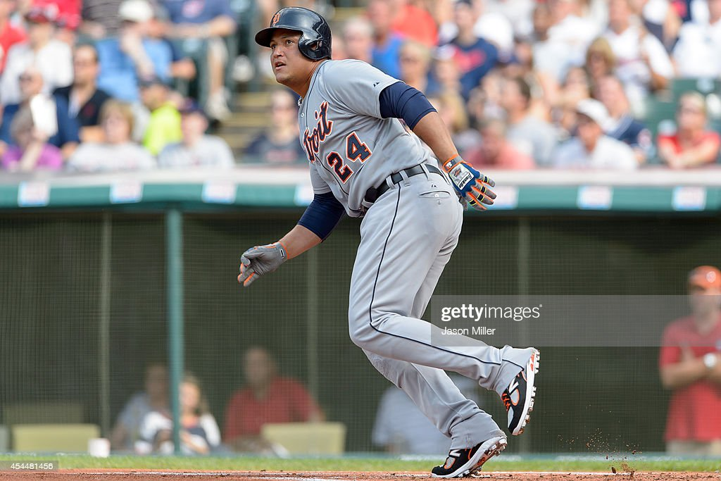 <a gi-track='captionPersonalityLinkClicked' href=/galleries/search?phrase=Miguel+Cabrera&family=editorial&specificpeople=202141 ng-click='$event.stopPropagation()'>Miguel Cabrera</a> #24 of the Detroit Tigers hits a two run home run during the first inning against the Cleveland Indians a Progressive Field on September 1, 2014 in Cleveland, Ohio.