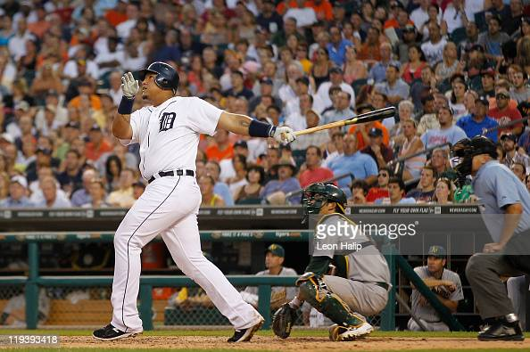 Miguel Cabrera of the Detroit Tigers hits a two run home run in the fifth inning scoring Brennan Boesch during the game against the Oakland Athletics...