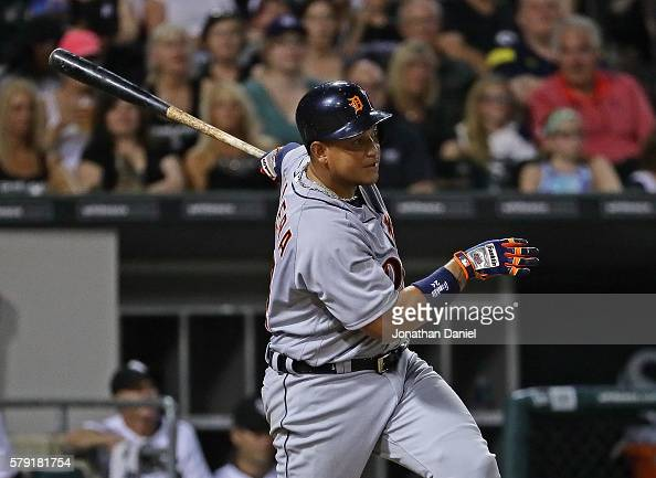 Miguel Cabrera of the Detroit Tigers hits a two run single in the 7th inning against the Chicago White Sox at US Cellular Field on July 22 2016 in...