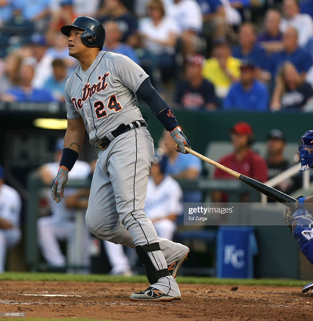 <a gi-track='captionPersonalityLinkClicked' href=/galleries/search?phrase=Miguel+Cabrera&family=editorial&specificpeople=202141 ng-click='$event.stopPropagation()'>Miguel Cabrera</a> #24 of the Detroit Tigers hits a two-run double in the fourth inning against the Kansas City Royals at Kauffman Stadium on July 10, 2014 at Kauffman Stadium in Kansas City, Missouri.