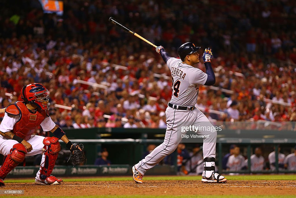 <a gi-track='captionPersonalityLinkClicked' href=/galleries/search?phrase=Miguel+Cabrera&family=editorial&specificpeople=202141 ng-click='$event.stopPropagation()'>Miguel Cabrera</a> #24 of the Detroit Tigers hits a two-run home run against the St. Louis Cardinals in the seventh inning at Busch Stadium on May 15, 2015 in St. Louis, Missouri.
