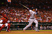 Miguel Cabrera of the Detroit Tigers hits a tworun home run against the St Louis Cardinals in the seventh inning at Busch Stadium on May 15 2015 in...