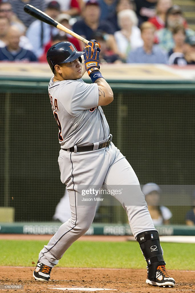 <a gi-track='captionPersonalityLinkClicked' href=/galleries/search?phrase=Miguel+Cabrera&family=editorial&specificpeople=202141 ng-click='$event.stopPropagation()'>Miguel Cabrera</a> #24 of the Detroit Tigers hits an RBI double during the fifth inning against the Cleveland Indians at Progressive Field on August 6, 2013 in Cleveland, Ohio.
