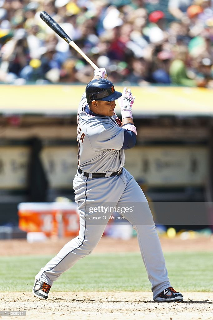 <a gi-track='captionPersonalityLinkClicked' href=/galleries/search?phrase=Miguel+Cabrera&family=editorial&specificpeople=202141 ng-click='$event.stopPropagation()'>Miguel Cabrera</a> #24 of the Detroit Tigers hits an RBI single against the Oakland Athletics during the fifth inning at O.co Coliseum on May 13, 2012 in Oakland, California. The Detroit Tigers defeated the Oakland Athletics 3-1.