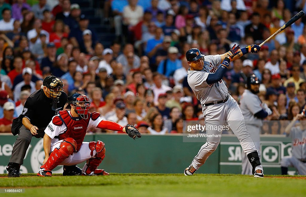 <a gi-track='captionPersonalityLinkClicked' href=/galleries/search?phrase=Miguel+Cabrera&family=editorial&specificpeople=202141 ng-click='$event.stopPropagation()'>Miguel Cabrera</a> #24 of the Detroit Tigers hits an RBI single in the third inning against the Boston Red Sox during the game on July 30, 2012 at Fenway Park in Boston, Massachusetts.