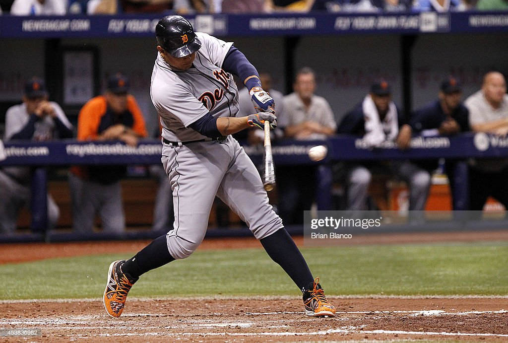 <a gi-track='captionPersonalityLinkClicked' href=/galleries/search?phrase=Miguel+Cabrera&family=editorial&specificpeople=202141 ng-click='$event.stopPropagation()'>Miguel Cabrera</a> #24 of the Detroit Tigers hits an RBI single to center field to score Ian Kinsler during the fifth inning of a game against the Tampa Bay Rays on August 19, 2014 at Tropicana Field in St. Petersburg, Florida.