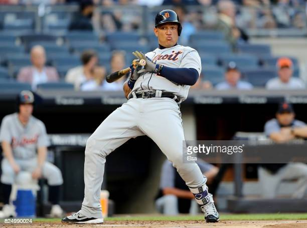 Miguel Cabrera of the Detroit Tigers is brushed back by a pitch in the first inning against the New York Yankees on July 31 2017 at Yankee Stadium in...