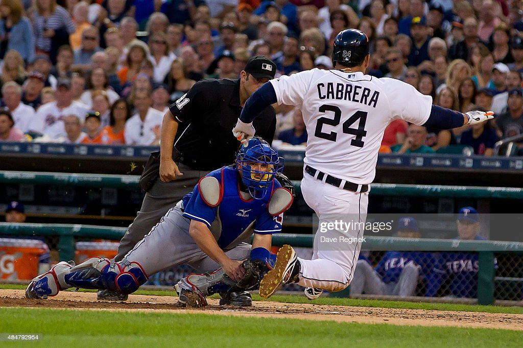 Miguel Cabrera 24 Of The Detroit Tigers Is Tagged Out At Home Plate In