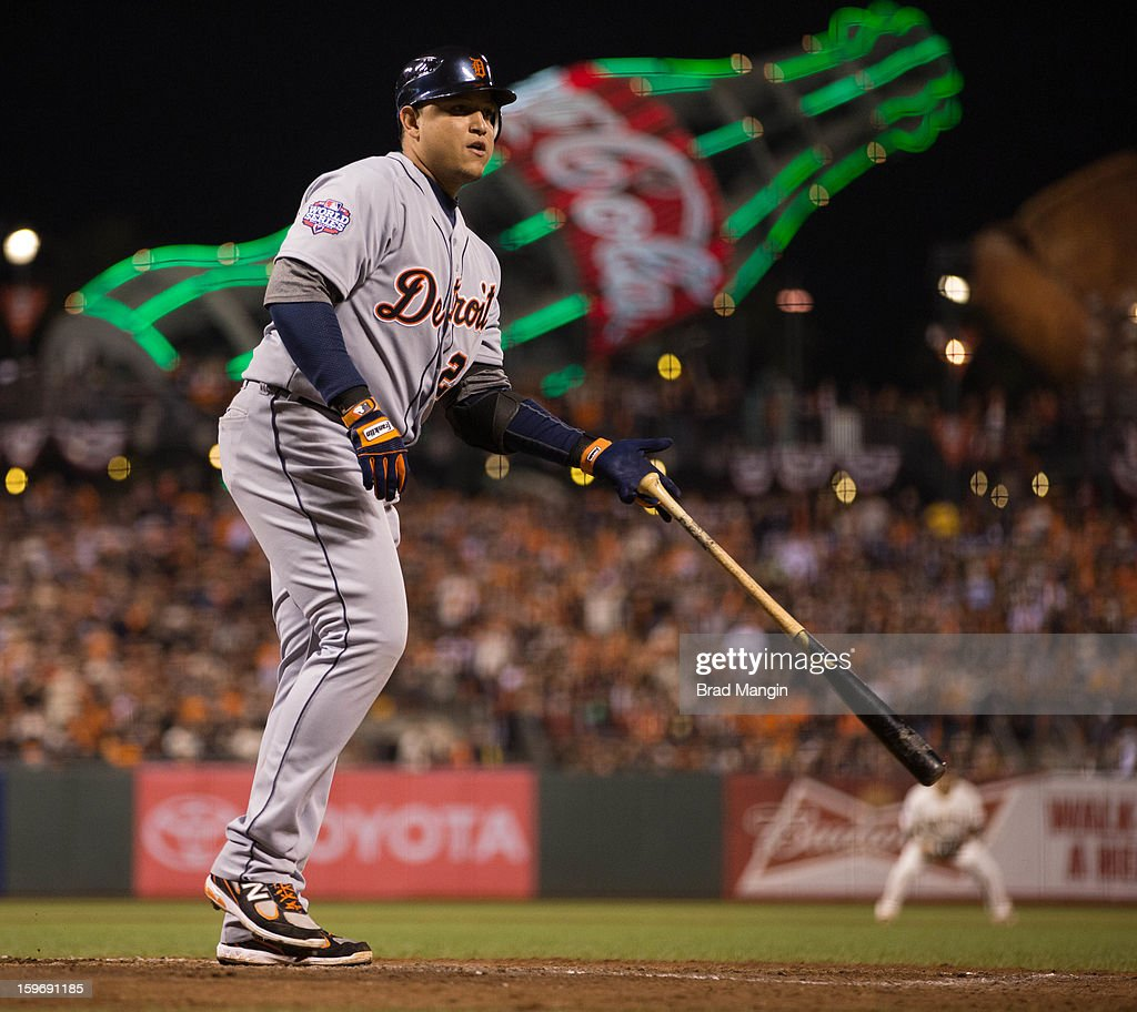 Miguel Cabrera #24 of the Detroit Tigers is walks in the top of the seventh inning during Game 2 of the 2012 World Series against the San Francisco Giants on Thursday, October 25, 2012 at AT&T Park in San Francisco, California.