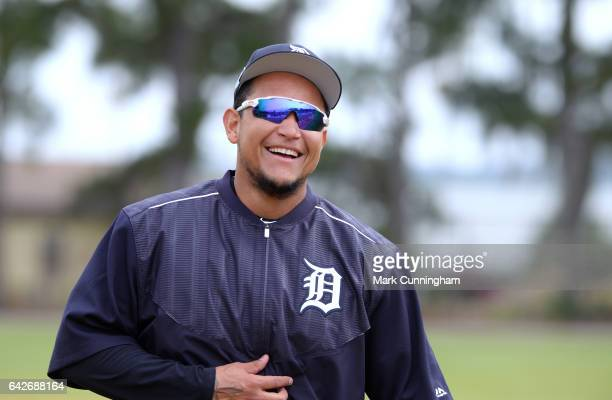 Miguel Cabrera of the Detroit Tigers looks on and smiles during Spring Training workouts at the TigerTown complex on February 18 2017 in Lakeland...