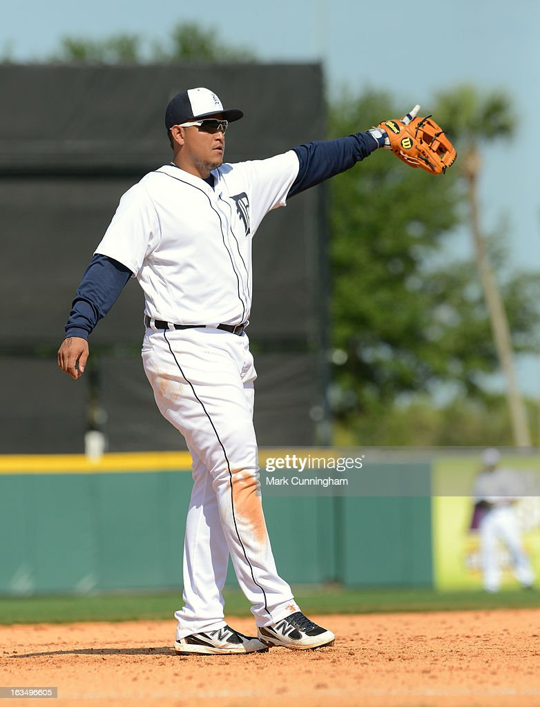 <a gi-track='captionPersonalityLinkClicked' href=/galleries/search?phrase=Miguel+Cabrera&family=editorial&specificpeople=202141 ng-click='$event.stopPropagation()'>Miguel Cabrera</a> #24 of the Detroit Tigers looks on during the spring training game against the Atlanta Braves at Joker Marchant Stadium on February 27, 2013 in Lakeland, Florida. The Braves defeated the Tigers 5-3.