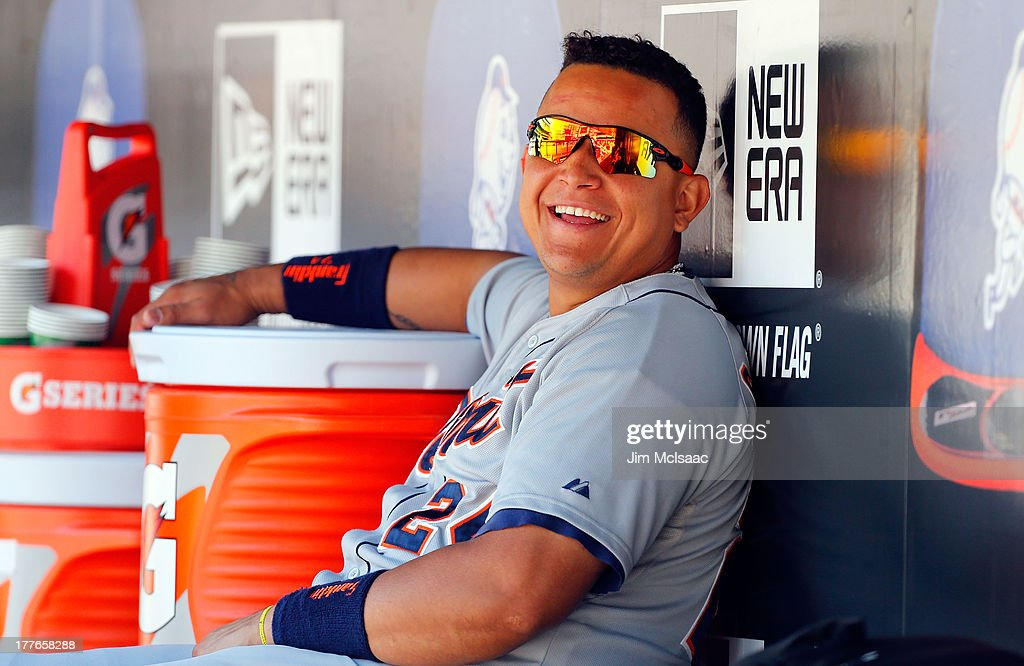 <a gi-track='captionPersonalityLinkClicked' href=/galleries/search?phrase=Miguel+Cabrera&family=editorial&specificpeople=202141 ng-click='$event.stopPropagation()'>Miguel Cabrera</a> #24 of the Detroit Tigers looks on from the dugout against the New York Mets at Citi Field on August 25, 2013 in the Flushing neighborhood of the Queens borough of New York City. The Tigers defeated the Mets 11-3.