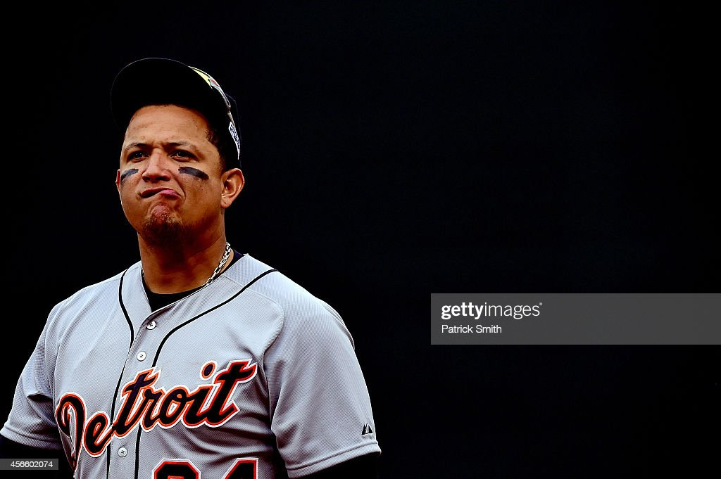 <a gi-track='captionPersonalityLinkClicked' href=/galleries/search?phrase=Miguel+Cabrera&family=editorial&specificpeople=202141 ng-click='$event.stopPropagation()'>Miguel Cabrera</a> #24 of the Detroit Tigers looks on in the eighth inning against the Baltimore Orioles during Game Two of the American League Division Series at Oriole Park at Camden Yards on October 3, 2014 in Baltimore, Maryland.