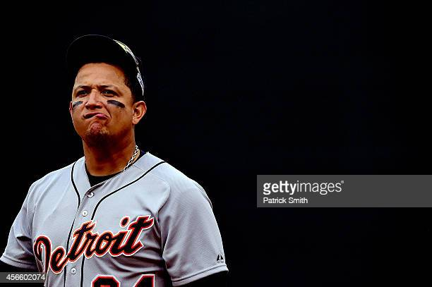 Miguel Cabrera of the Detroit Tigers looks on in the eighth inning against the Baltimore Orioles during Game Two of the American League Division...