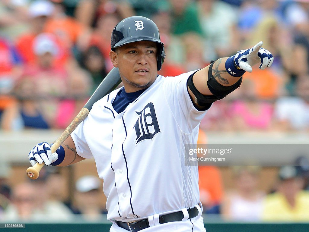 Miguel Cabrera #24 of the Detroit Tigers looks on while batting against the Philadelphia Phillies during the spring training game at Joker Marchant Stadium on February 24, 2013 in Lakeland, Florida. The game ended in a 10 inning 5-5 tie.