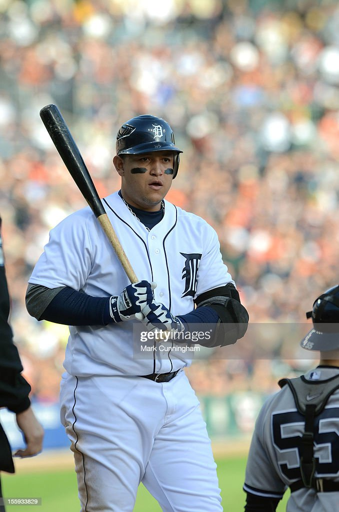Miguel Cabrera #24 of the Detroit Tigers looks on while batting during Game Four of the American League Championship Series against the New York Yankees at Comerica Park on October 18, 2012 in Detroit, Michigan. The Tigers defeated the Yankees 8-1 and now advance to the World Series.