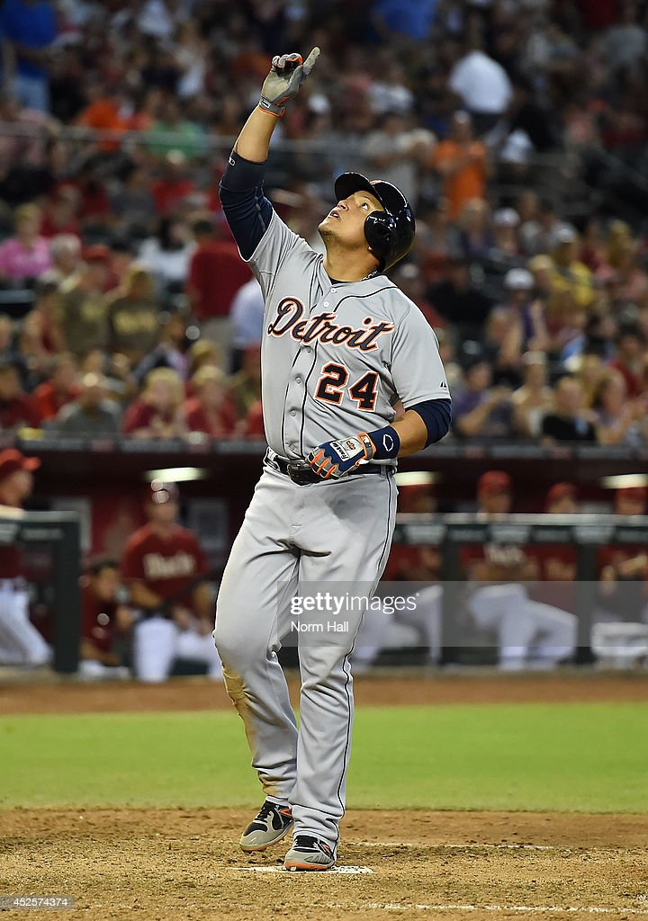 <a gi-track='captionPersonalityLinkClicked' href=/galleries/search?phrase=Miguel+Cabrera&family=editorial&specificpeople=202141 ng-click='$event.stopPropagation()'>Miguel Cabrera</a> #24 of the Detroit Tigers points to the sky after hitting a three-run home run during the eighth inning against the Arizona Diamondbacks at Chase Field on July 23, 2014 in Phoenix, Arizona.