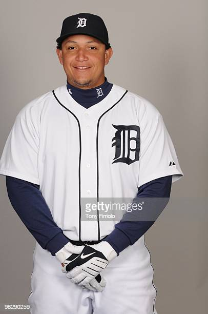 Miguel Cabrera of the Detroit Tigers poses during Photo Day on Saturday February 27 2010 at Joker Marchant Stadium in Lakeland Florida