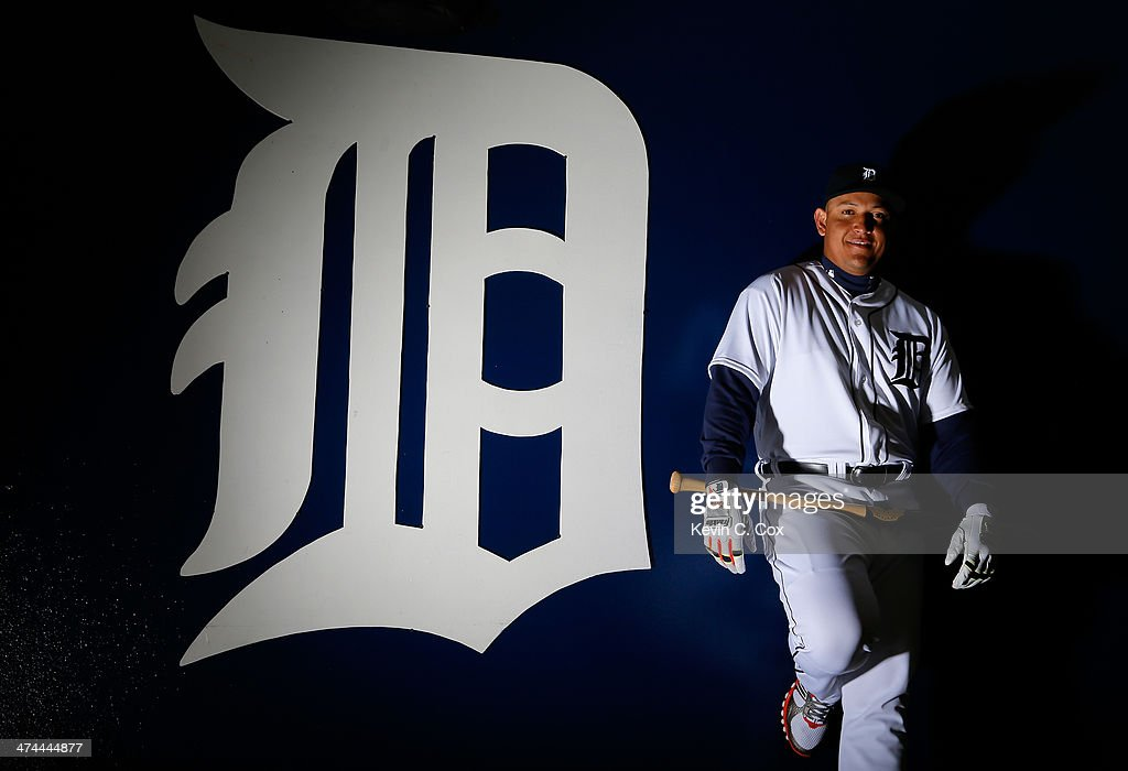 Miguel Cabrera of the Detroit Tigers poses for a portrait during photo day on February 23 2014 at Joker Marchant Stadium in Lakeland Florida