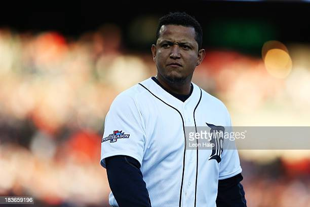 Miguel Cabrera of the Detroit Tigers reacts after flying out to end the fourth inning against the Oakland Athletics during Game Four of the American...
