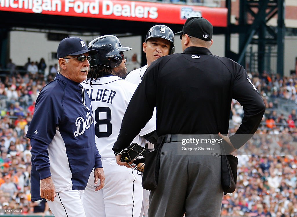 <a gi-track='captionPersonalityLinkClicked' href=/galleries/search?phrase=Miguel+Cabrera&family=editorial&specificpeople=202141 ng-click='$event.stopPropagation()'>Miguel Cabrera</a> #24 of the Detroit Tigers reacts next to <a gi-track='captionPersonalityLinkClicked' href=/galleries/search?phrase=Prince+Fielder&family=editorial&specificpeople=209392 ng-click='$event.stopPropagation()'>Prince Fielder</a> #28 and manager <a gi-track='captionPersonalityLinkClicked' href=/galleries/search?phrase=Jim+Leyland&family=editorial&specificpeople=239038 ng-click='$event.stopPropagation()'>Jim Leyland</a> after being ejected from the game by home plate umpire Chad Fairchild while playing the Philadelphia Phillies at Comerica Park on July 28, 2013 in Detroit, Michigan.