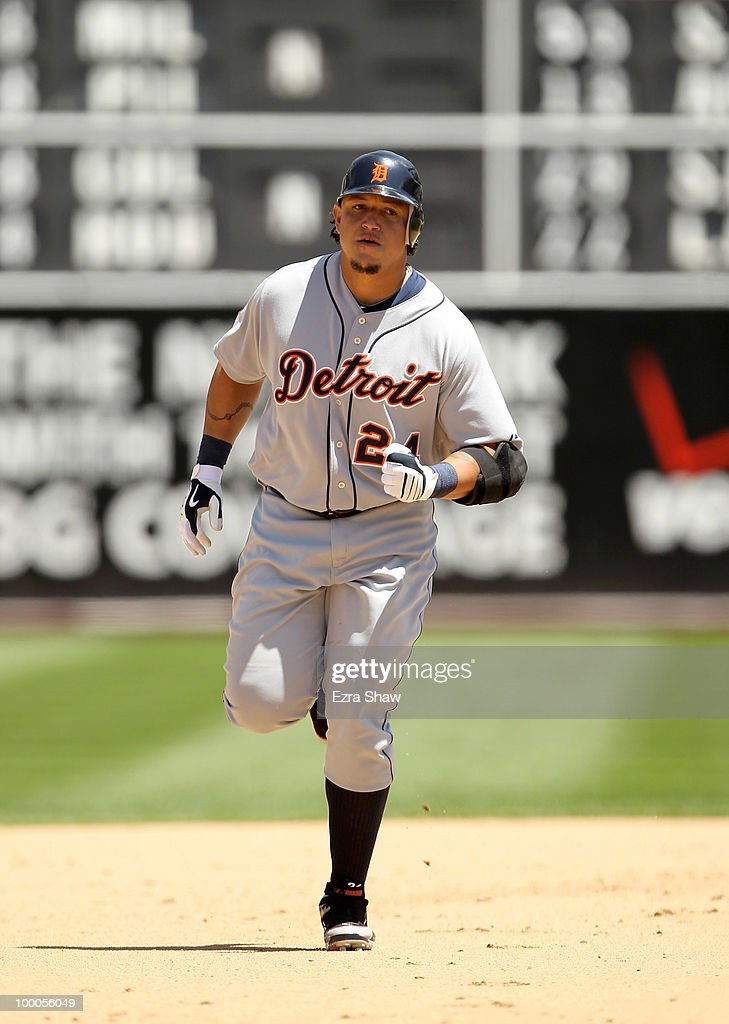 Miguel Cabrera #24 of the Detroit Tigers rounds the bases after he hit a two run home run in the fifth inning of their game against the Oakland Athletics at the Oakland-Alameda County Coliseum on May 20, 2010 in Oakland, California.