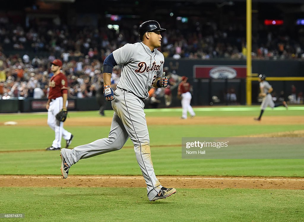 <a gi-track='captionPersonalityLinkClicked' href=/galleries/search?phrase=Miguel+Cabrera&family=editorial&specificpeople=202141 ng-click='$event.stopPropagation()'>Miguel Cabrera</a> #24 of the Detroit Tigers rounds the bases after hitting a three-run home run during the eighth inning against the Arizona Diamondbacks at Chase Field on July 23, 2014 in Phoenix, Arizona.