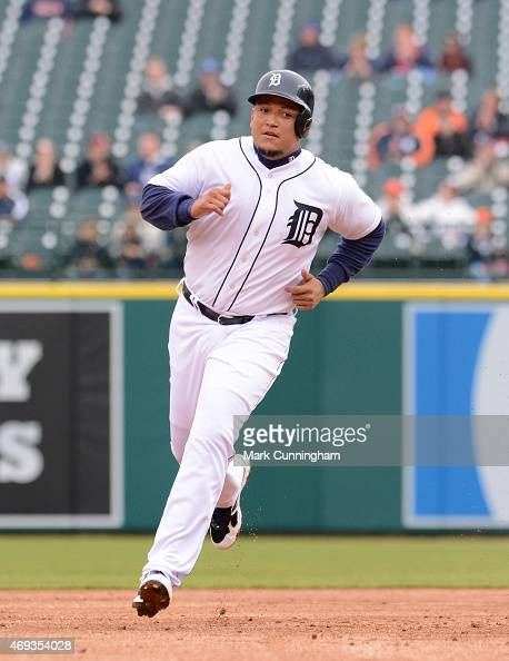 Miguel Cabrera of the Detroit Tigers runs the bases during the game against the Minnesota Twins at Comerica Park on April 9 2015 in Detroit Michigan...