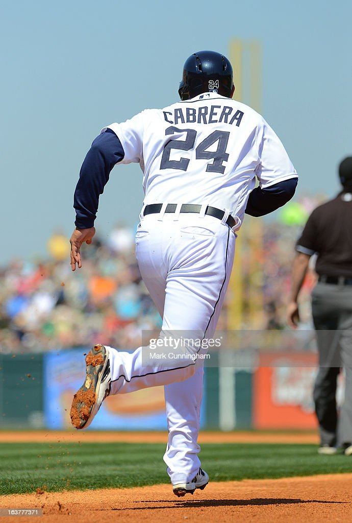 <a gi-track='captionPersonalityLinkClicked' href=/galleries/search?phrase=Miguel+Cabrera&family=editorial&specificpeople=202141 ng-click='$event.stopPropagation()'>Miguel Cabrera</a> #24 of the Detroit Tigers runs the bases during the spring training game against the Toronto Blue Jays at Joker Marchant Stadium on March 15, 2013 in Lakeland, Florida. The Tigers defeated the Blue Jays 4-2.