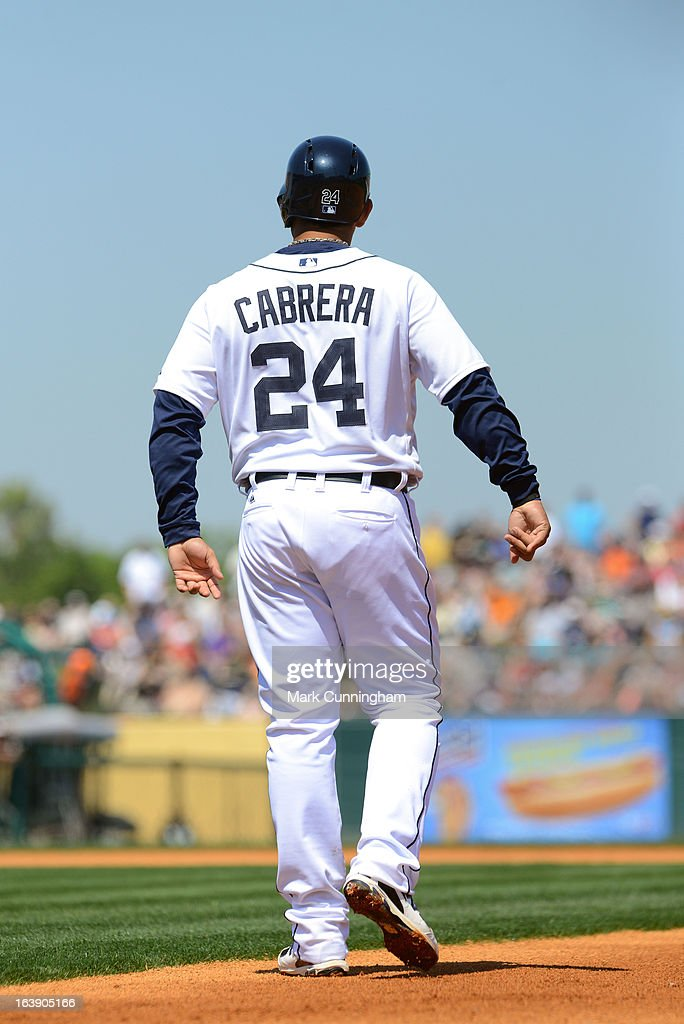 Miguel Cabrera #24 of the Detroit Tigers runs the bases during the spring training game against the Toronto Blue Jays at Joker Marchant Stadium on March 15, 2013 in Lakeland, Florida. The Tigers defeated the Blue Jays 4-2.