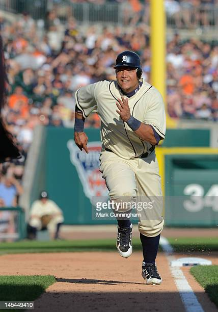 Miguel Cabrera of the Detroit Tigers runs the bases while wearing a Detroit Stars Negro League Tribute uniform during the game against the Pittsburgh...