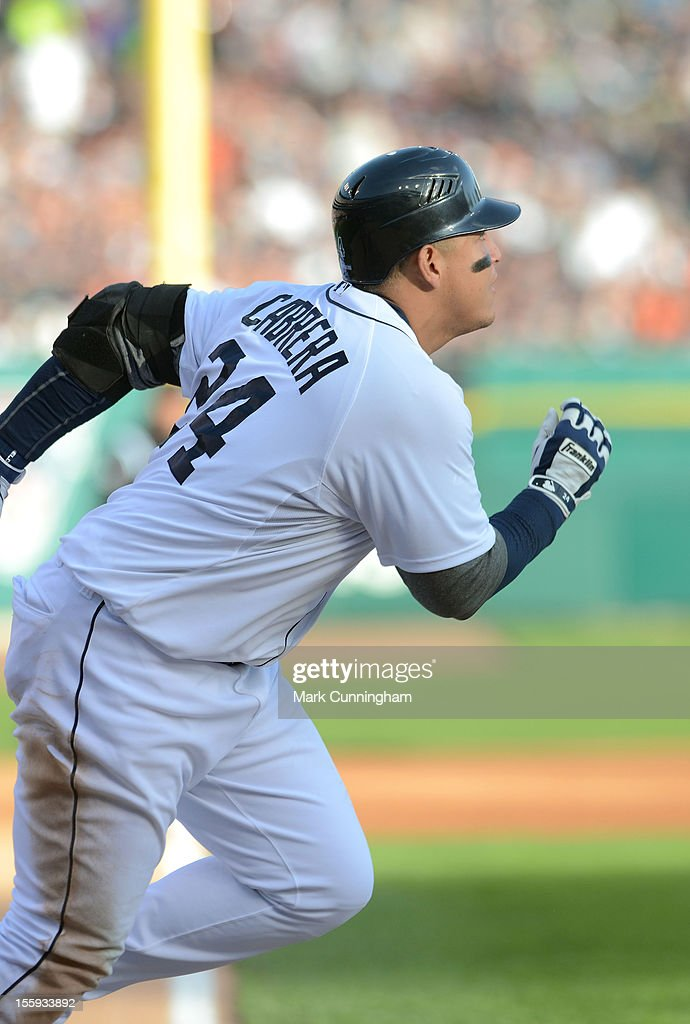 Miguel Cabrera #24 of the Detroit Tigers runs to first base during Game Four of the American League Championship Series against the New York Yankees at Comerica Park on October 18, 2012 in Detroit, Michigan. The Tigers defeated the Yankees 8-1 and now advance to the World Series.