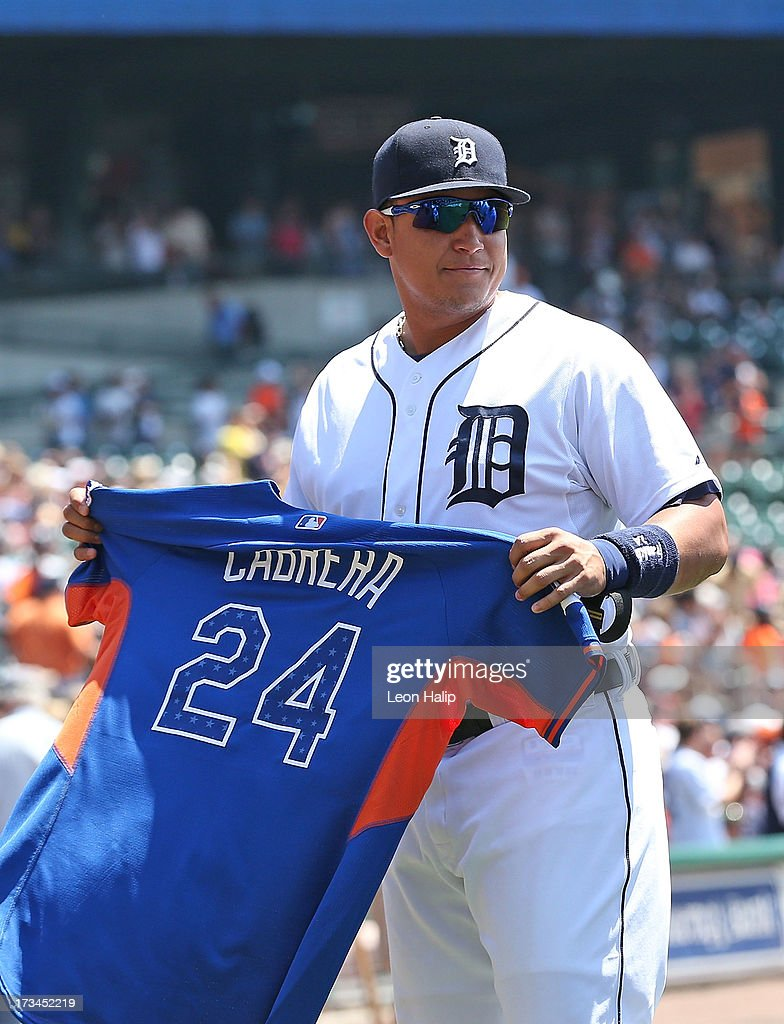 <a gi-track='captionPersonalityLinkClicked' href=/galleries/search?phrase=Miguel+Cabrera&family=editorial&specificpeople=202141 ng-click='$event.stopPropagation()'>Miguel Cabrera</a> #24 of the Detroit Tigers shows off his All Start Jersery prior to the start of the game against the Texas Rangers at Comerica Park on July 14, 2013 in Detroit, Michigan. The Tigers defeated the Rangers 5-0.
