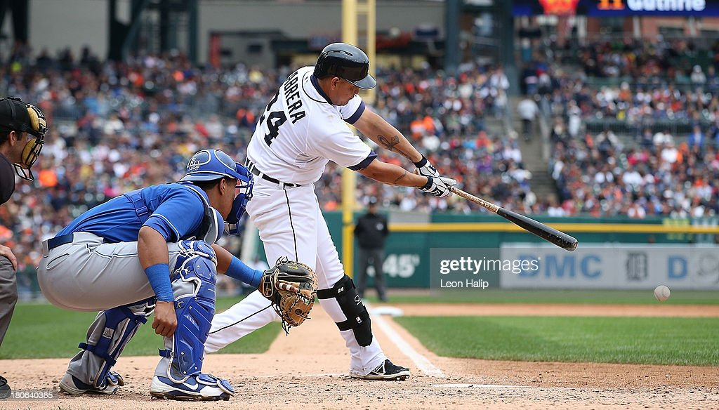 <a gi-track='captionPersonalityLinkClicked' href=/galleries/search?phrase=Miguel+Cabrera&family=editorial&specificpeople=202141 ng-click='$event.stopPropagation()'>Miguel Cabrera</a> #24 of the Detroit Tigers singles to center field during the fifth inning of the game against the Kansas City Royals at Comerica Park on September 15, 2013 in Detroit, Michigan.