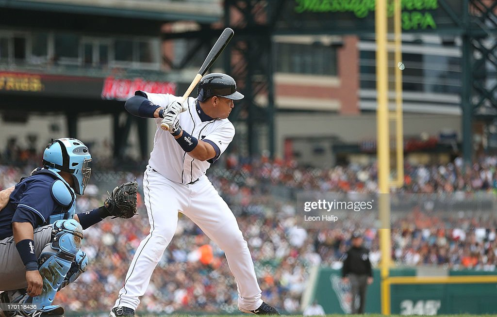 <a gi-track='captionPersonalityLinkClicked' href=/galleries/search?phrase=Miguel+Cabrera&family=editorial&specificpeople=202141 ng-click='$event.stopPropagation()'>Miguel Cabrera</a> #24 of the Detroit Tigers singles to right center field in the seventh inning against the Tampa Bay Rays at Comerica Park on June 6, 2013 in Detroit, Michigan. The Tigers defeated the Rays 5-2.