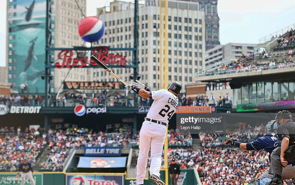 <a gi-track='captionPersonalityLinkClicked' href=/galleries/search?phrase=Miguel+Cabrera&family=editorial&specificpeople=202141 ng-click='$event.stopPropagation()'>Miguel Cabrera</a> #24 of the Detroit Tigers singles to right field in the seventh inning during the game against the Tampa Bay Rays at Comerica Park on June 6, 2013 in Detroit, Michigan. The Tigers defeated the Rays 5-2.