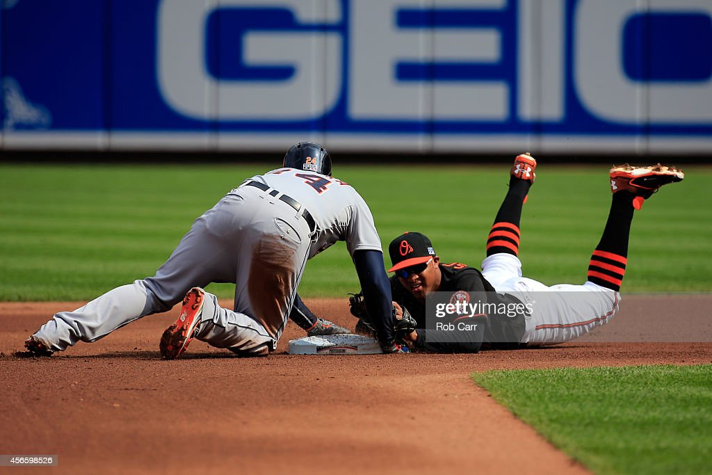 <a gi-track='captionPersonalityLinkClicked' href=/galleries/search?phrase=Miguel+Cabrera&family=editorial&specificpeople=202141 ng-click='$event.stopPropagation()'>Miguel Cabrera</a> #24 of the Detroit Tigers slides safe to second as <a gi-track='captionPersonalityLinkClicked' href=/galleries/search?phrase=Jonathan+Schoop&family=editorial&specificpeople=2526897 ng-click='$event.stopPropagation()'>Jonathan Schoop</a> #6 of the Baltimore Orioles slides late to the tag in the fourth inning during Game Two of the American League Division Series at Oriole Park at Camden Yards on October 3, 2014 in Baltimore, Maryland.