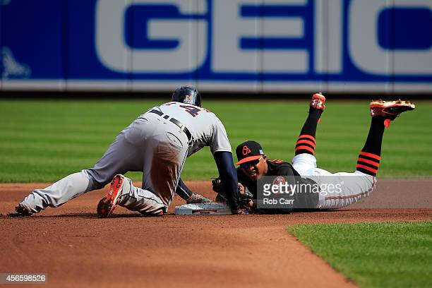Miguel Cabrera of the Detroit Tigers slides safe to second as Jonathan Schoop of the Baltimore Orioles slides late to the tag in the fourth inning...