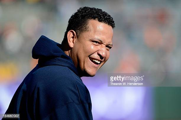Miguel Cabrera of the Detroit Tigers smiles as he looks on during batting practice against the San Francisco Giants during Game One of the Major...