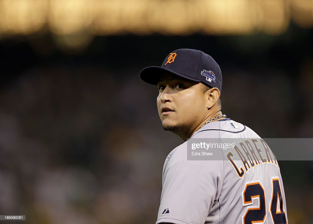 <a gi-track='captionPersonalityLinkClicked' href=/galleries/search?phrase=Miguel+Cabrera&family=editorial&specificpeople=202141 ng-click='$event.stopPropagation()'>Miguel Cabrera</a> #24 of the Detroit Tigers stands on the field during their game against the Oakland Athletics at O.co Coliseum on October 4, 2013 in Oakland, California.