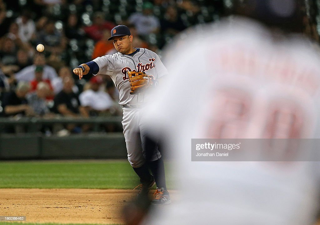 <a gi-track='captionPersonalityLinkClicked' href=/galleries/search?phrase=Miguel+Cabrera&family=editorial&specificpeople=202141 ng-click='$event.stopPropagation()'>Miguel Cabrera</a> #24 of the Detroit Tigers throws out Dayan Viciedo of the Chicago White Sox in the 7th inning at U.S. Cellular Field on September 10, 2013 in Chicago, Illinois.