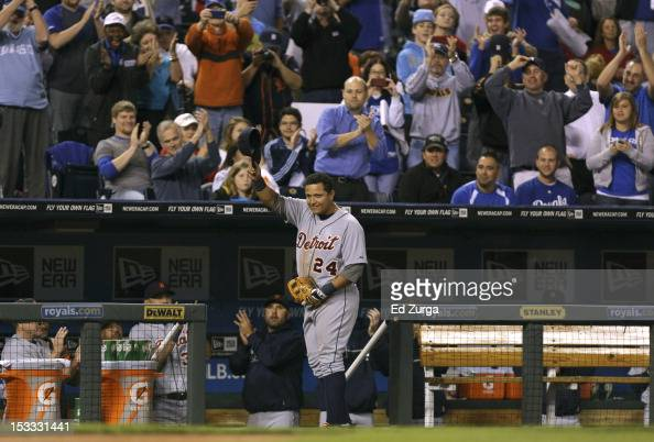 Miguel Cabrera of the Detroit Tigers tips hat as he leaves the game in the fourth inning at Kauffman Stadium on October 3 2012 in Kansas City Missouri